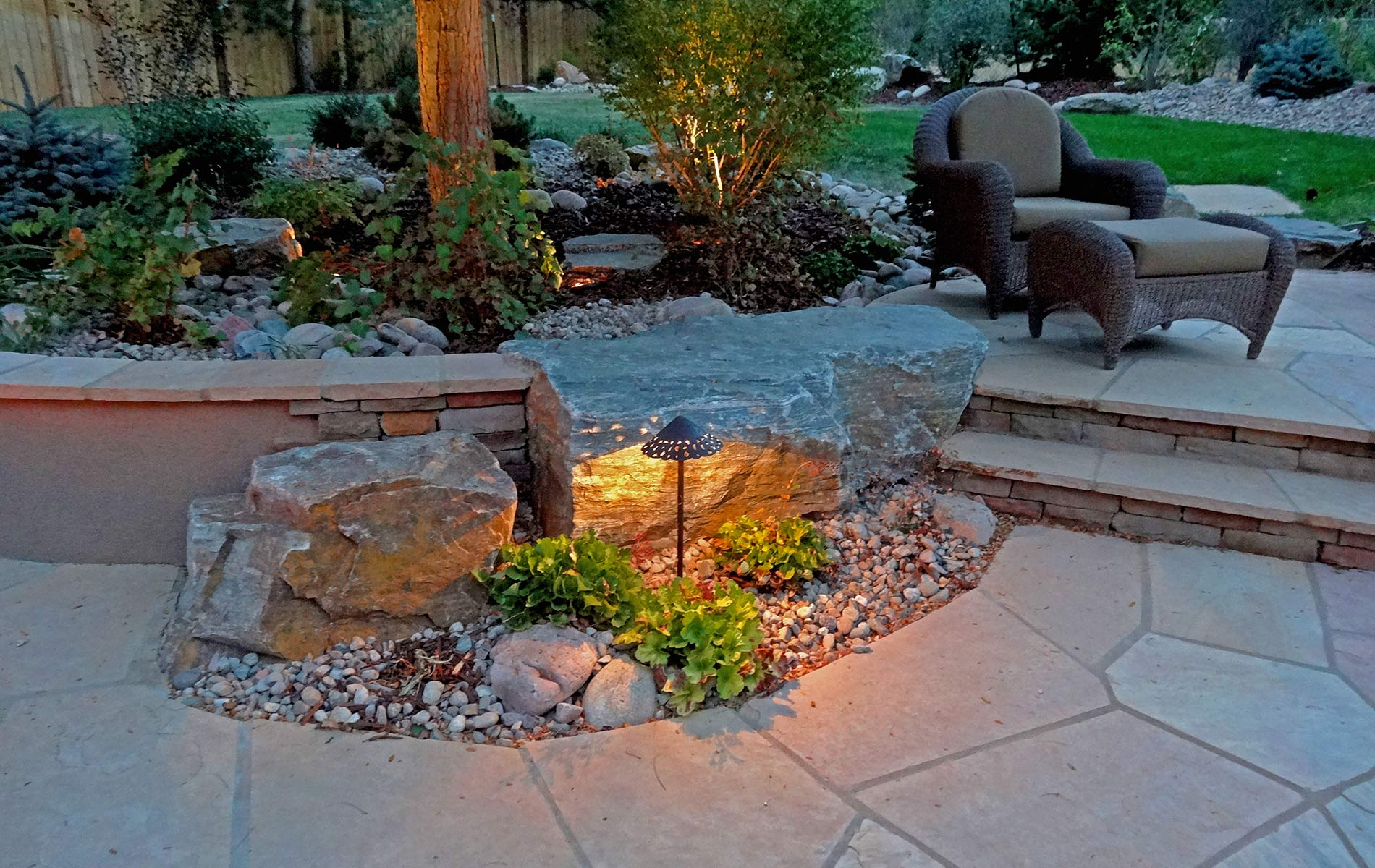 12 volt Accent lighting against gold ore accent boulder