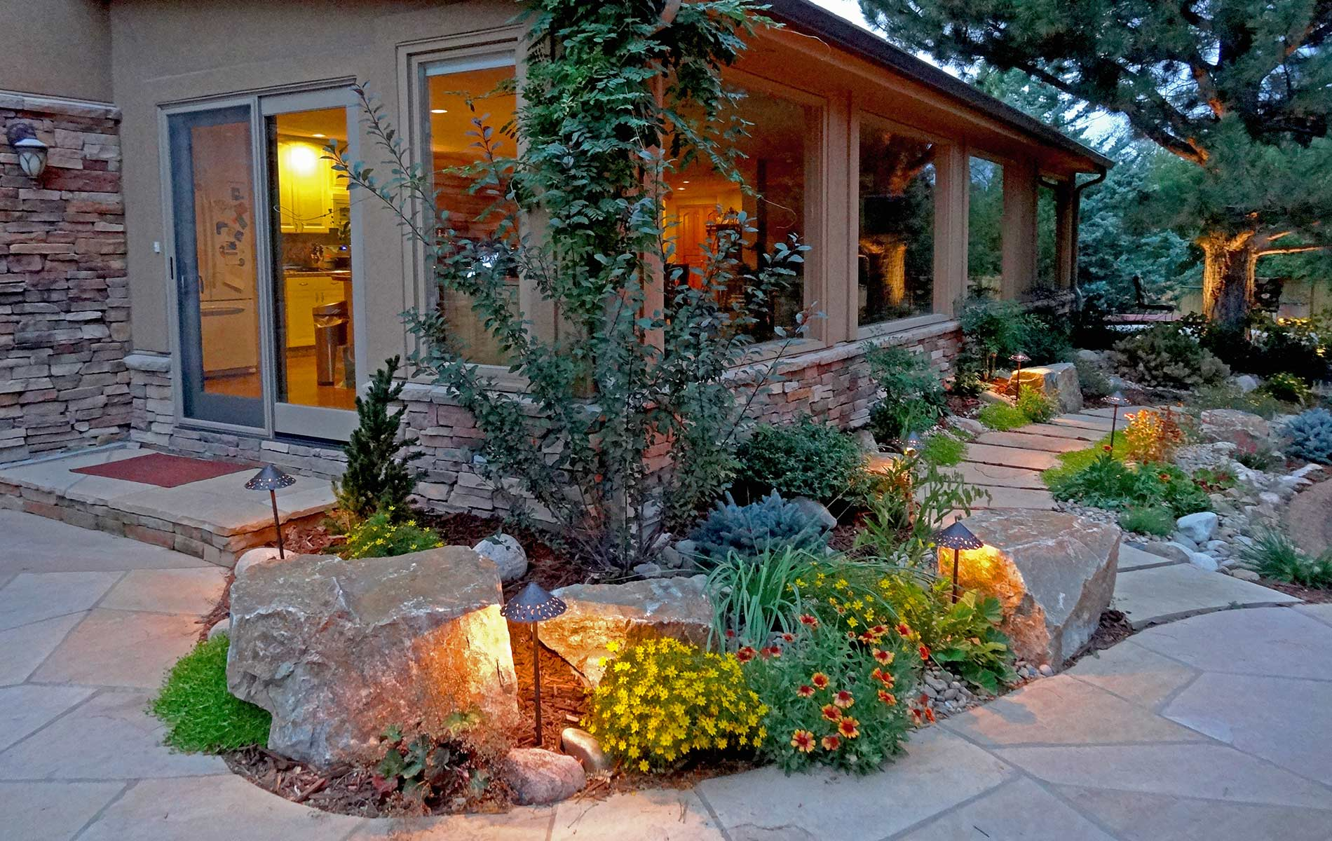 Rustic ranch and large scale landscape in greenwood for Garden and design